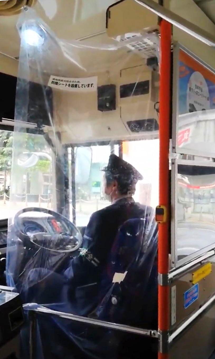路線バスの防護シート